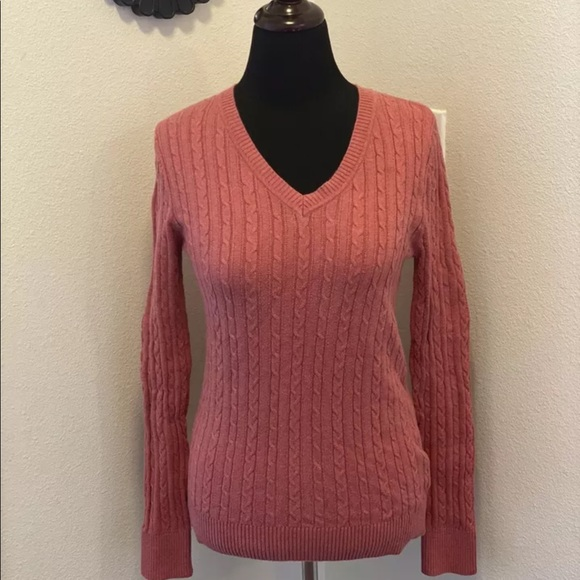 SONOMA CABLE KNIT SWEATER ROSE PINK DUSTY MAUVE